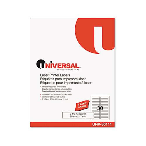 Universal® Laser Printer File Folder Labels, 750/Pack