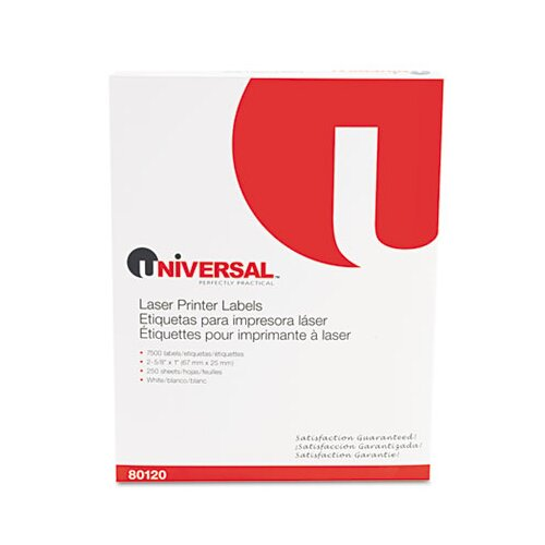 Universal® Laser Printer Permanent Labels, 7500/Box