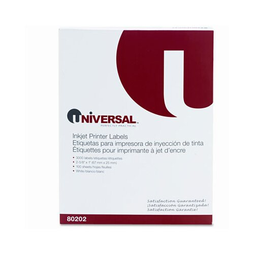 Universal® Inkjet Printer Labels, 3000/Box