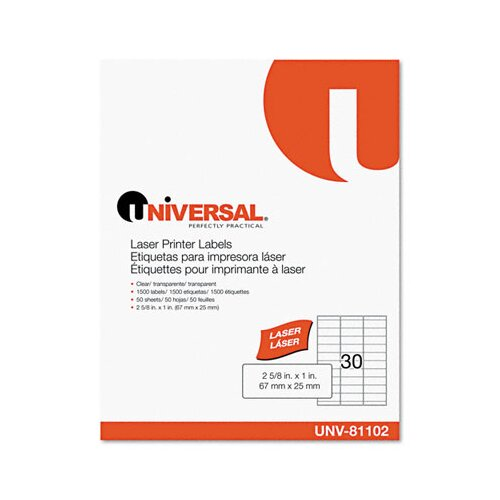Universal® Laser Printer Permanent Labels, 1500/Box