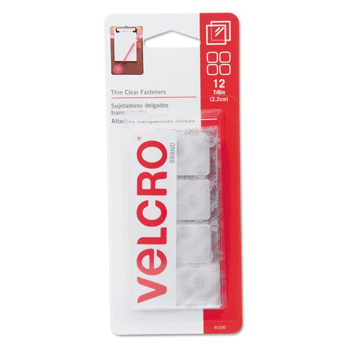 """VELCRO USA Inc Sticky-Back hook & loop fastener squares, 1 1/4"""", clear"""