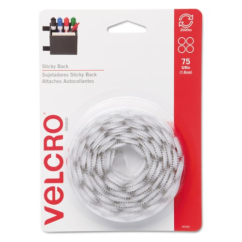 "VELCRO USA Inc Sticky-Back Hook and Loop Dot Fasteners With Dispenser, 5/8"", 75/Roll"