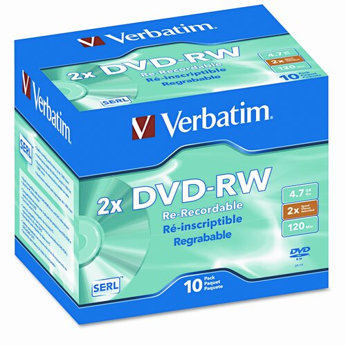 Verbatim Corporation DVD-RW Discs, 4.7GB, 2x, with Jewel Cases, Silver, 10/Pack