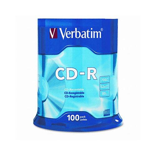 Verbatim Corporation Spindle Cd-R Discs, 700Mb/80Min, 52X, Spindle, 100/Pack