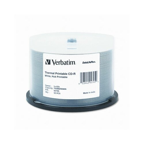 Verbatim Corporation Spindle Printable Cd-R Discs, 700Mb/80Min, 52X, 50/Pack
