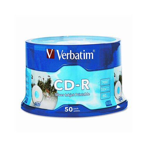 Verbatim Corporation Spindle Cd-R Discs, 700Mb/80Min, 52X, Spindle, 50/Pack