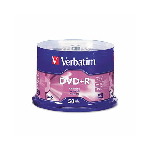 Verbatim Corporation Spindle Dvd+R Discs, 4.7Gb, 16X, 50/Pack