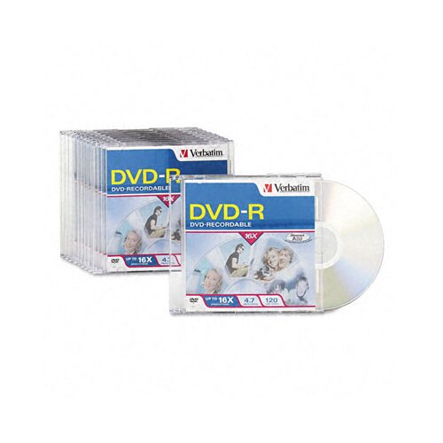 Verbatim Corporation Dvd-R Discs, 4.7Gb, 16X, W/Slim Jewel Cases, 10/Pack