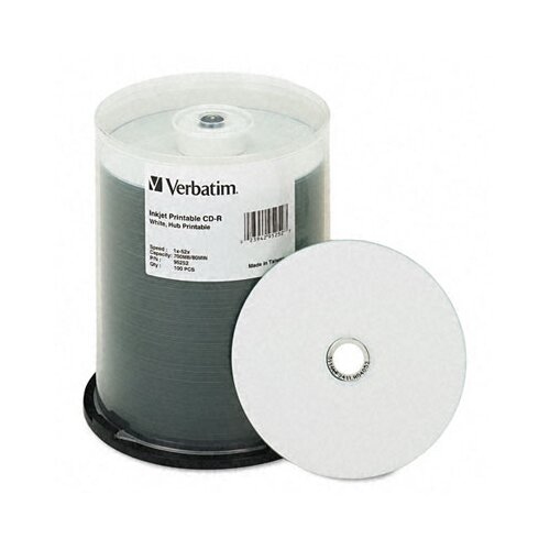 Verbatim Corporation Hub Inkjet Printable Cd-R Discs, 700Mb/80Min, 52X, 25/Pack