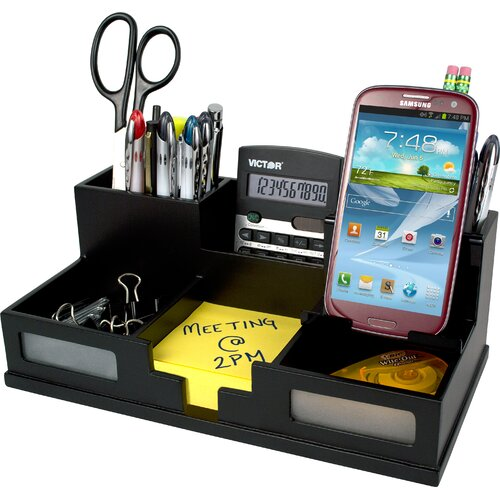 Victor technology midnight black desk organizer with smart - Over the desk organizer ...