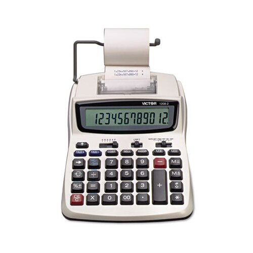 Victor Technology Compact Printing Calculator, 12-Digit Lcd