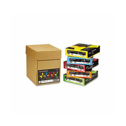 Wausau Papers Astrobrights Colored Paper, 24 lbs., 8-1/2 x 11, Assorted, 2500/Carton