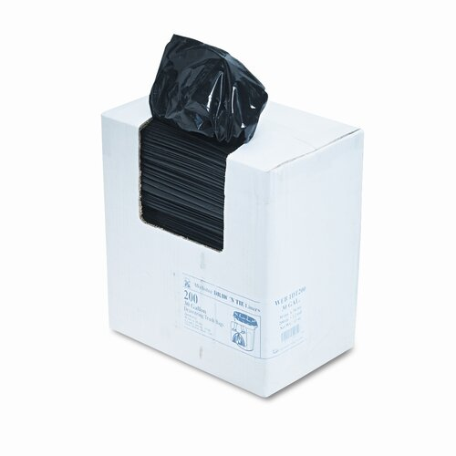 Webster Industries Heavy-Duty Draw/Tie Bags, Hexene Resin, 30 gal, 1.2mil, 30 1/2 x 34, BLK, 200/bx