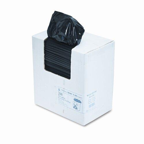 Webster Industries Heavy-Duty Draw/Tie Bags, Hexene Resin, 30 gal, 1.2mil, 30 1/2 x 34, BLK, 200/bx