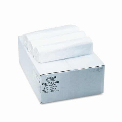 Webster Industries Good 'N Tuff High Density Waste Can Liners, 56 Gal, 14 Mic, 43 X 46, 200/Carton