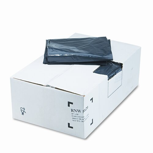 Webster Industries Earthsense Commercial Recycled Can Liners, 55-60 Gal, 2 Mil, 38 X 58, 100/Carton