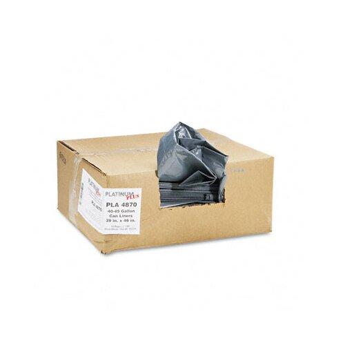 Webster Industries Platinum Plus Can Liner, Super Hexene Resin 40-45 Gal, 1.55 Mil, 39 X 46, 50/Carton