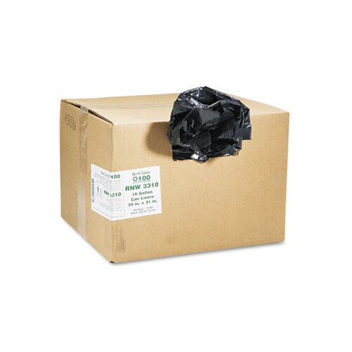 Webster Industries Earthsense Commercial Recycled Can Liners, 16 Gal, .65 Mil, 24 X 31, 500/Carton