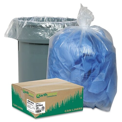 Webster Industries Earthsense Commercial Recycled Can Liners, 55-60 Gal, 1.5 Mil, 100 Per Carton