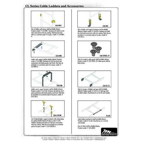 Middle Atlantic CL Series Slotted Ladder Support Hardware with Ceiling Hang Kit
