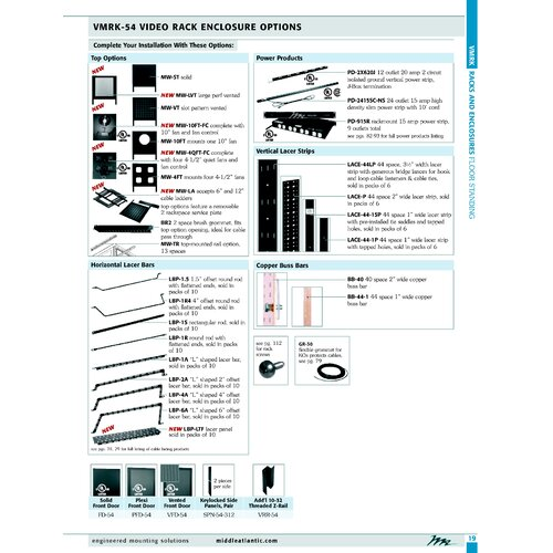 Middle Atlantic VMRK-54 Tall Series Cable Management Brush Grommet Panel