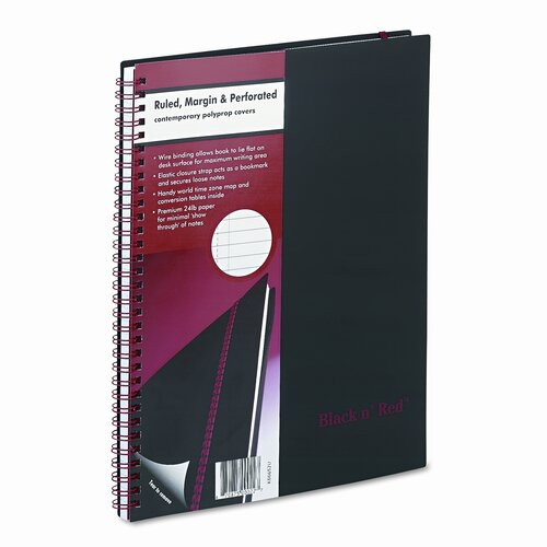 Mead Polypropylene Twinwire Notebook, Margin Rule, 70 Sheets/Pad