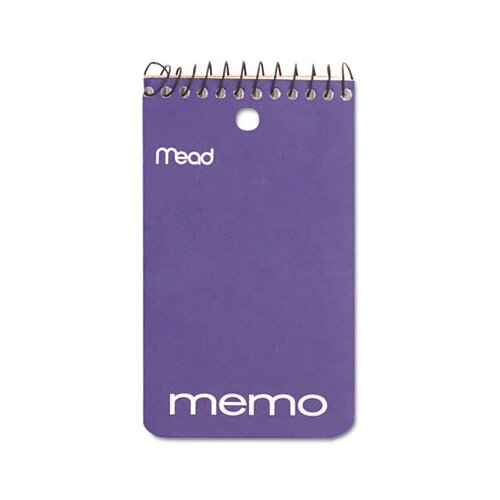 "Mead Memo Book, College Ruled, 3"" X 5"", Wirebound, Punched, 60 Sheets"