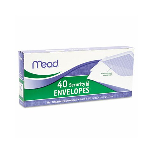 Mead Security Envelope, 4 1/8 X 9 1/2, 20 Lb, 40/Box