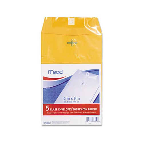 Mead Clasp Envelope, 6 X 9, 24Lb, Kraft, 5/Pack