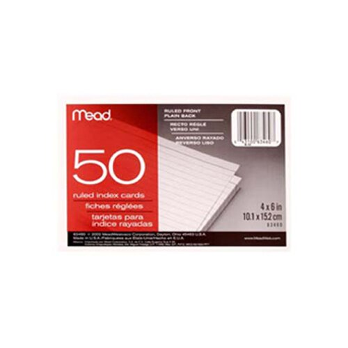 Mead Cards Index Ruled 4 X 6 50 ct