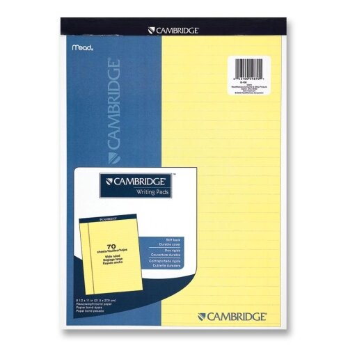 """Mead Legal Pad, Legal Rule, 70 Sheets, 8-1/2""""x11"""", Canary"""