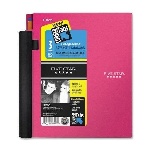 Mead Five Star Advance Wirebound Notebook, College Rule, Letter, 3 Subject 150 Sheets/Pad