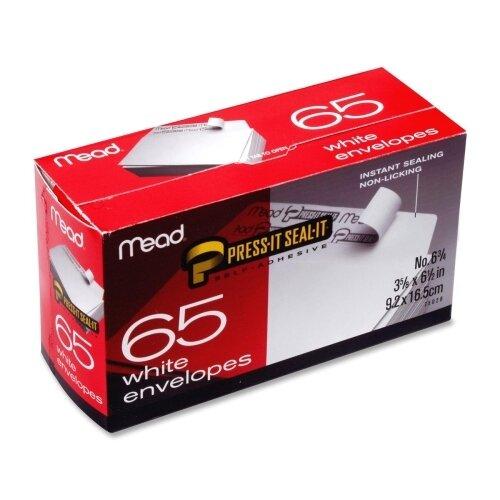 Mead Press-it Seal-it Business Envelope, 3 5/8 × 6 1/2, 20 lb, White, 65/Box