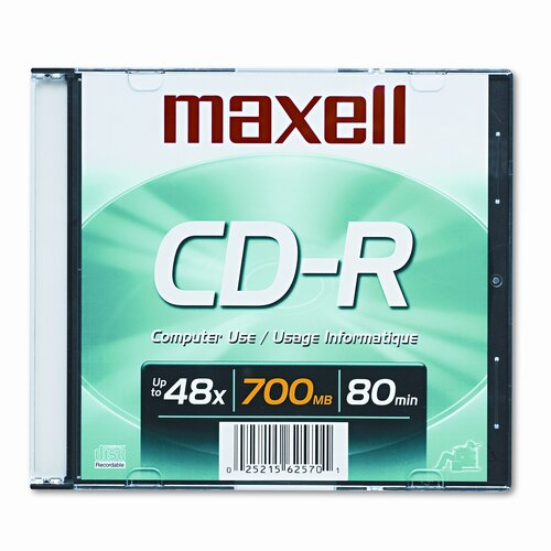 Maxell Corp. Of America Cd-R Disc, 700Mb/80Min, 48X
