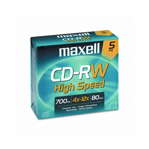 Maxell Corp. Of America CD-RW Discs, 700MB/80min, 12x, with Jewel Cases, Gold, Five/Pack