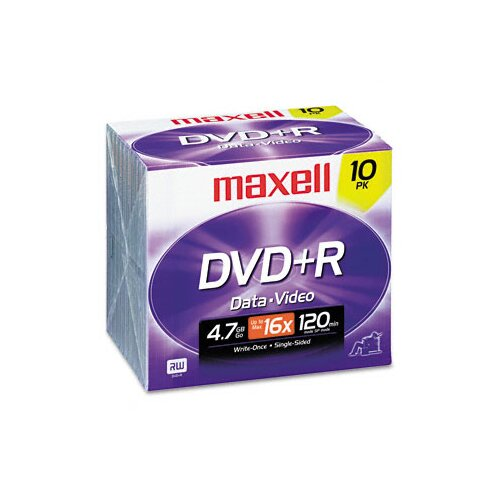 Maxell Corp. Of America DVD+R Discs, 4.7GB, 16x, with Jewel Cases, Silver, 10/Pack
