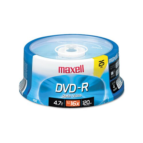 Maxell Corp. Of America Spindle Dvd-R Discs, 4.7Gb, 16X, 25/Pack