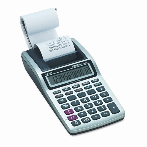 Casio® Handheld Portable Printing Calculator, 12-Digit Lcd