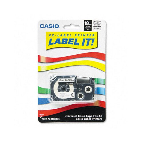 Casio® Label Printer Iron-On Transfer Tape, 18mm, Black on White
