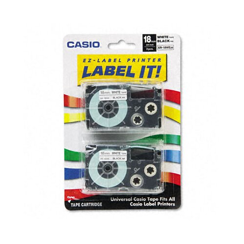 Casio® 18WE2S Tape Cassettes for Kl Label Makers, 18Mm X 26Ft, 2/Pack