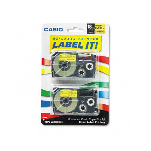 Casio® Tape Cassettes for Kl Label Makers, 18Mm X 26Ft, 2/Pack