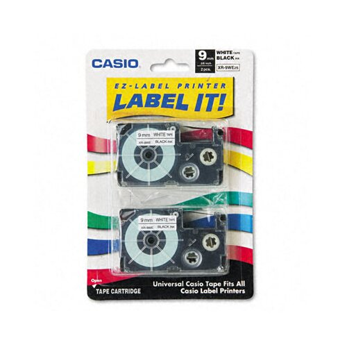 Casio® 9WE2S Tape Cassettes for Kl Label Makers, 9Mm X 26Ft, 2/Pack