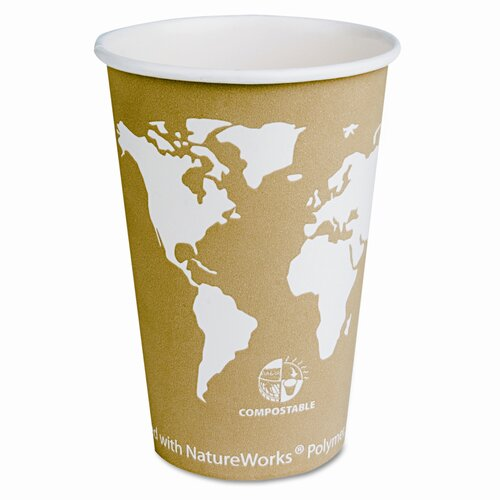 Eco-Products, Inc World Art Renewable Resource Compostable Hot Cups, 16 Oz, 1000/Carton