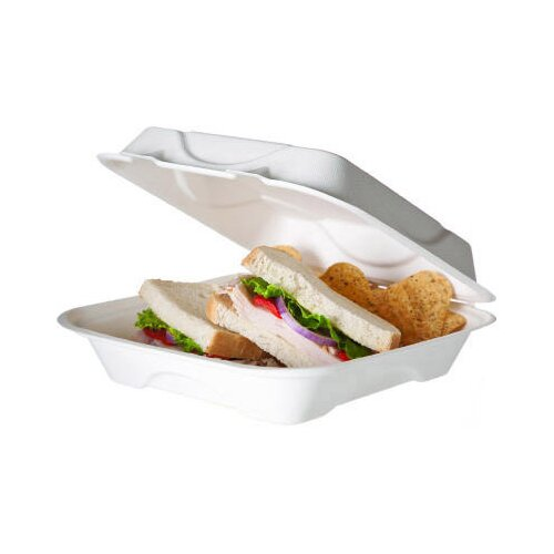 """Eco-Products, Inc Bagasse Hinged 9"""" Clamshell Containers in White"""