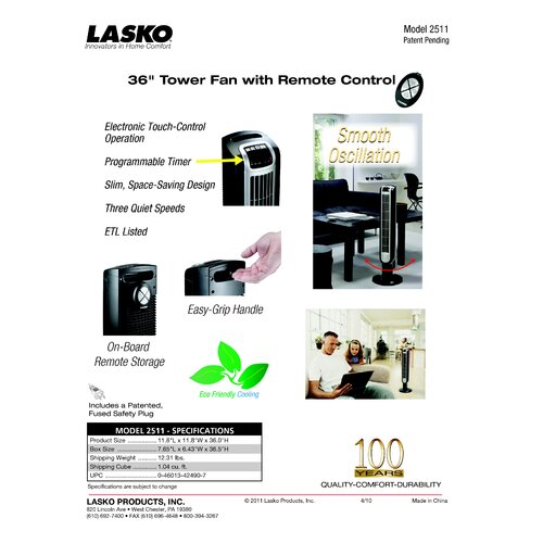 Lasko Lasko 1,500 Watt Ceramic Tower Electric Space Heater with Thermostat