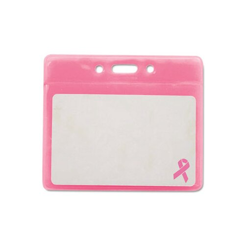 "Advanced Formulations Advantus Breast Cancer Awareness Badge Holder, Horizontal, 3 1/2"" X 2 1/2"", 25/Pack"