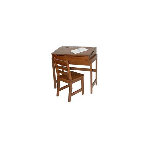 Lipper International Kids' Desk and Chair Set in Walnut