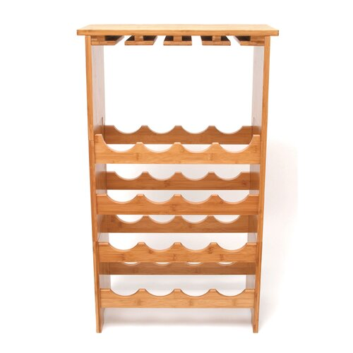 Lipper International 16 Bottle Wine and Glass Rack