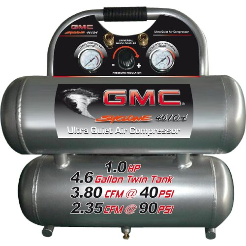 4.6 Gallon GMC SYCLONE 4610A Ultra Quiet and Oil-Free Air Compressor