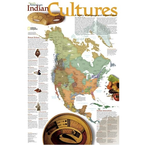 National Geographic Maps North American Indian Cultures Poster Map